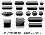 black glass buttons. collection ... | Shutterstock .eps vector #1306927048
