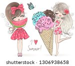 two hand drawn beautiful cute... | Shutterstock .eps vector #1306938658