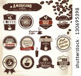 retro coffee badges and labels | Shutterstock .eps vector #130695398