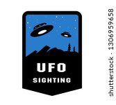 ufo sighting badges and logo... | Shutterstock . vector #1306959658