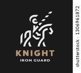 equestrian knight  linear logo... | Shutterstock . vector #1306961872