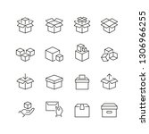 boxes related icons  thin... | Shutterstock .eps vector #1306966255