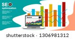 flat illustration web analytics ... | Shutterstock .eps vector #1306981312