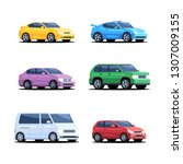 set of colored cars. personal... | Shutterstock .eps vector #1307009155