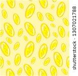 seamless pattern golden coins ... | Shutterstock .eps vector #1307021788