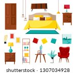 bedroom interior collection... | Shutterstock .eps vector #1307034928