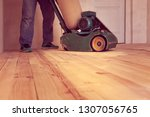 carpenter polishes a wooden...   Shutterstock . vector #1307056765