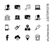 16 mobile icons with facebook... | Shutterstock .eps vector #1307095378