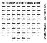 set of 60 city silhouettes from ... | Shutterstock .eps vector #1307095528