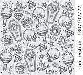 design pattern old school flash ... | Shutterstock .eps vector #1307102722