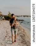 young father and his little boy ...   Shutterstock . vector #1307104375