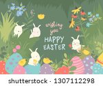 cute easter bunnies and easter... | Shutterstock .eps vector #1307112298