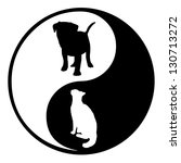 Stock photo illustration of a yin yang symbol with a silhouette cat and dog 130713272