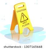"yellow plastic sign ""caution...   Shutterstock .eps vector #1307165668"