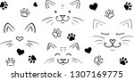 vector cats   paws   hearts  | Shutterstock .eps vector #1307169775