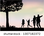 family silhouettes in nature | Shutterstock .eps vector #1307182372