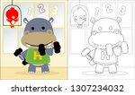 Vector Of Hippo Cartoon Lifting ...