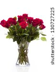 Bouquet Of Red Roses On White...
