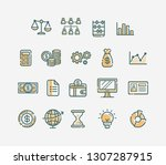 set flat filled icon management ... | Shutterstock .eps vector #1307287915