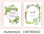 wedding invitation  floral... | Shutterstock .eps vector #1307303422