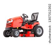 red ride on lawn mower isolated ... | Shutterstock . vector #1307312302