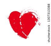 grunge red heart shape.... | Shutterstock .eps vector #1307313388