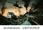 helicopter and forces in... | Shutterstock . vector #1307313925