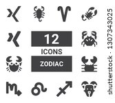 zodiac icon set. collection of...