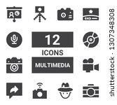 multimedia icon set. collection ... | Shutterstock .eps vector #1307348308