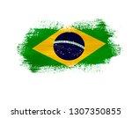brush painted flag of brazil... | Shutterstock . vector #1307350855