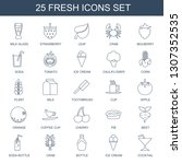 25 fresh icons. Trendy fresh icons white background. Included line icons such as milk glass, strawberry, leaf, crab, mulberry, soda, tomato, ice cream. fresh icon for web and mobile.