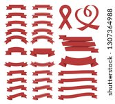 set of red celebration curved... | Shutterstock .eps vector #1307364988