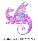 fantasy creature dragon.... | Shutterstock .eps vector #1307390245