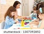group of kindergarten children...   Shutterstock . vector #1307392852