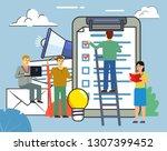 people standing near big... | Shutterstock .eps vector #1307399452