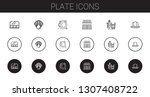 plate icons set. collection of... | Shutterstock .eps vector #1307408722