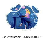online assistant   customer and ... | Shutterstock .eps vector #1307408812