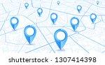 gps.navigator pin blue color... | Shutterstock .eps vector #1307414398