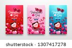 valentine's day sale poster or... | Shutterstock .eps vector #1307417278