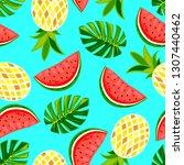 exotic summer vector. seamless... | Shutterstock .eps vector #1307440462