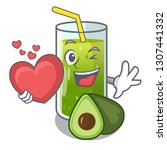 with heart avocado smoothies... | Shutterstock .eps vector #1307441332