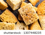 crispy croutons with spices | Shutterstock . vector #1307448235