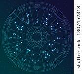 vector zodiac circle with...   Shutterstock .eps vector #1307452318