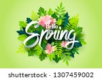 paper art of spring calligraphy ... | Shutterstock .eps vector #1307459002