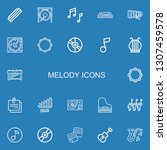 editable 22 melody icons for... | Shutterstock .eps vector #1307459578