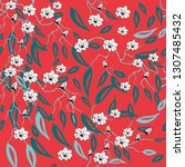 white flowers on red background.... | Shutterstock .eps vector #1307485432