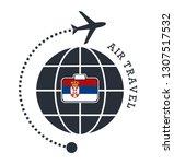 serbia air travel. vector... | Shutterstock .eps vector #1307517532