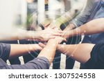 Small photo of Group of People of Different NATIONALITIES, Putting H�AND Togetherness TEAMWORK or Handshake is Alliance Community Connection , BUSINESS PARTNER. TEAM Stacked With Graphic Connected Networks.