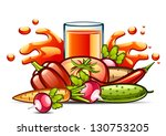 natural juice and vegetables | Shutterstock .eps vector #130753205