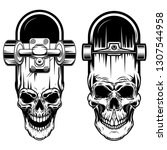 illustration of skateboard with ... | Shutterstock .eps vector #1307544958